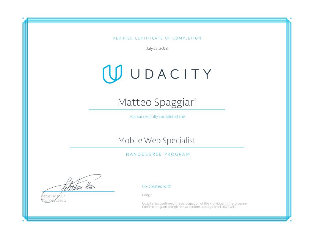 Certificazione Udacity - Corso in Mobile Web Specialist