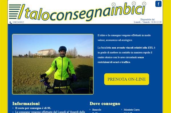 Screenshot Sito Web Italo Consegna In Bici