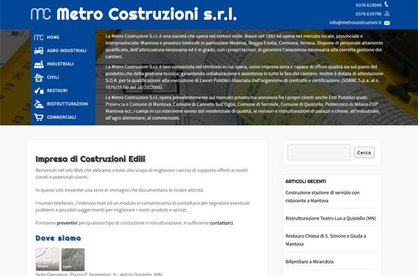 Screenshot Sito Web Metro Costruzioni s.r.l.