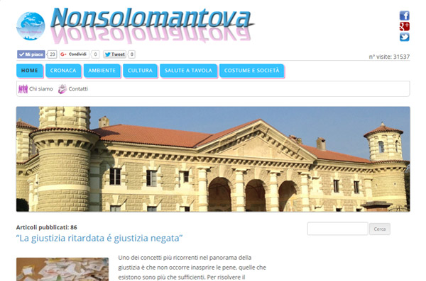 Screenshot Sito Web Non Solo Mantova