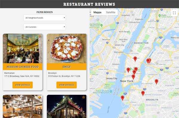 Screenshot Applicazione Web di Recensioni Ristoranti - Progetto Udacity